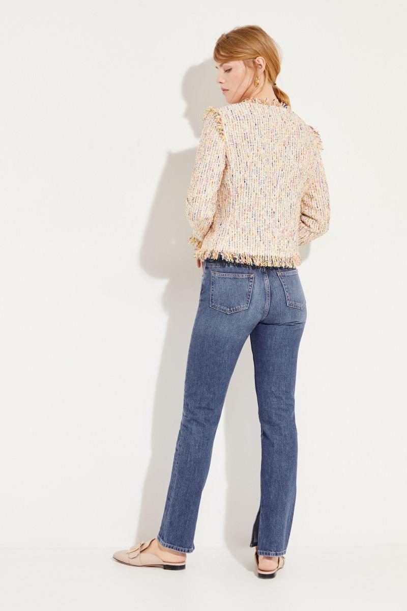 Tweed-Blazer mit Fransendetails Gelb/Multi