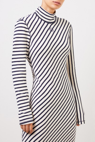 Loewe Long cotton dress with logo Navy Blue/White