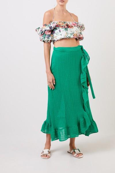 Linen wrap skirt with flounces Green