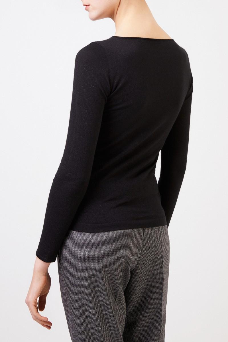 Brunello Cucinelli Feiner Alpaca-Pullover mit Lurexdetails Schwarz