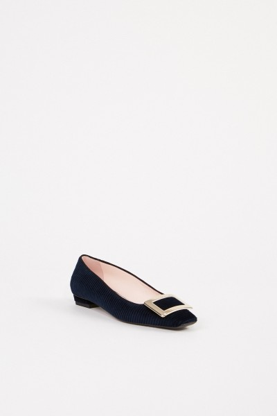 Roger Vivier Corduroy ballerina 'Belle Vivier Piping Ball' Navy Blue