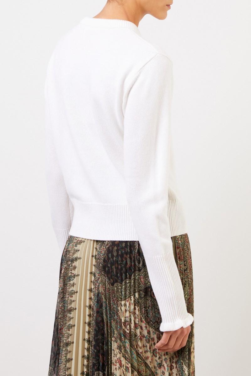 Chloé Cashmere-Pullover mit Logo-Knöpfen Iconic Milk