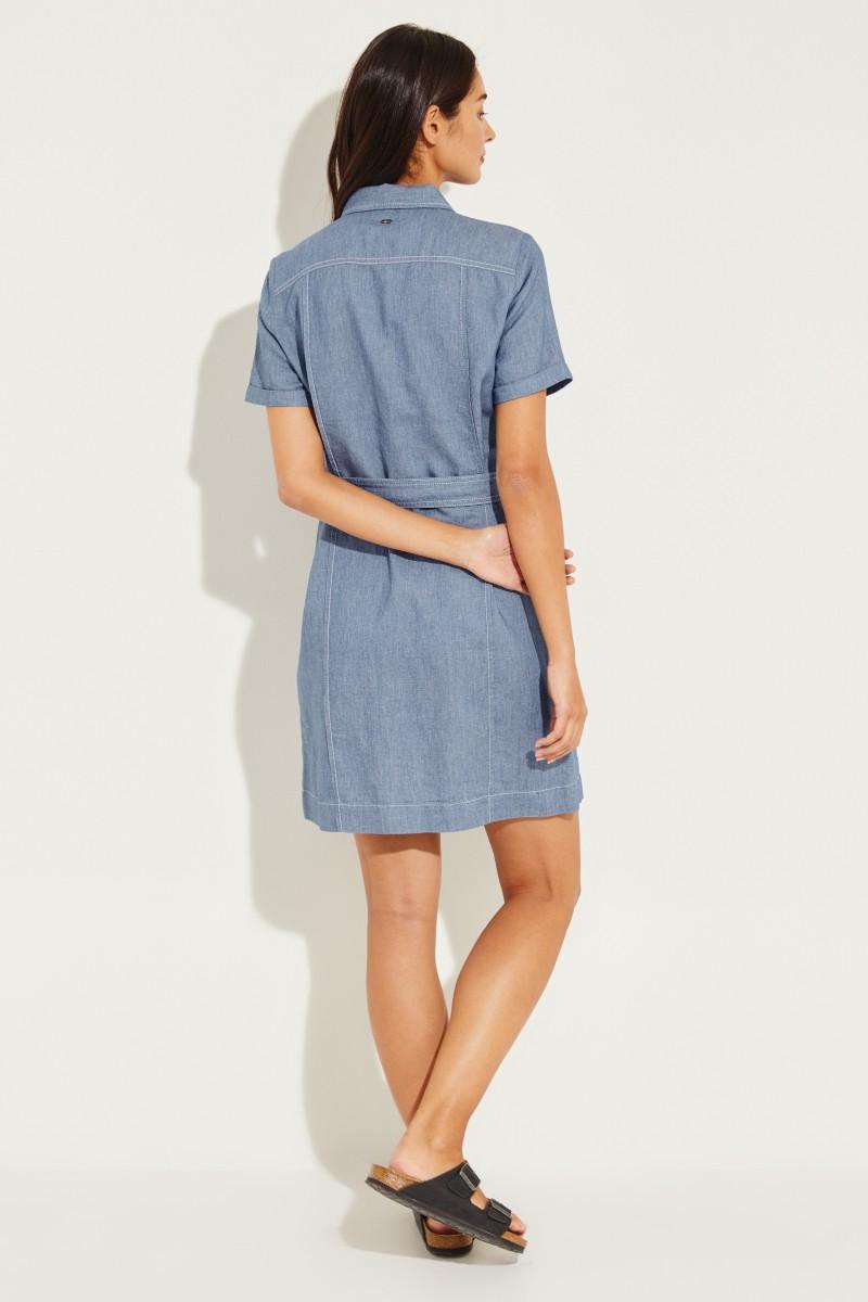 Jeans-Kleid mit Gürtel Blau