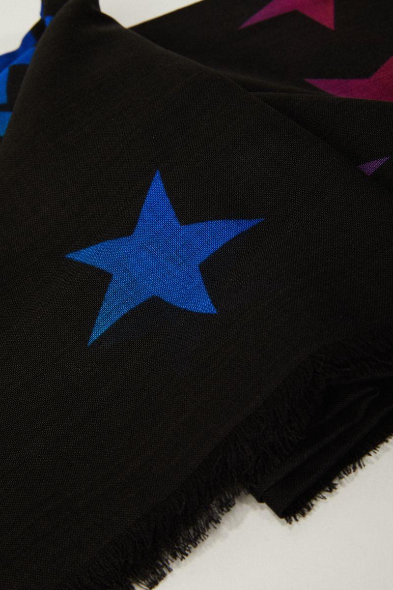 Woll-Seiden-Schal mit Logo-Schriftzug Schwarz/Multi