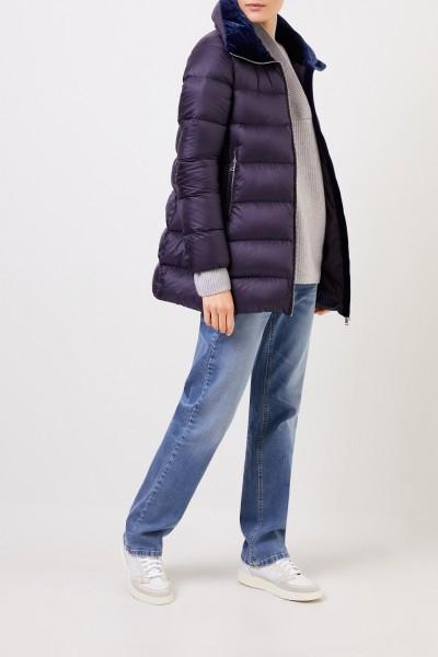 Moncler Down jacket with velvet details Navy Blue