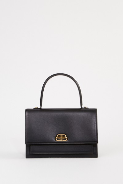 Leather bag with logo Black