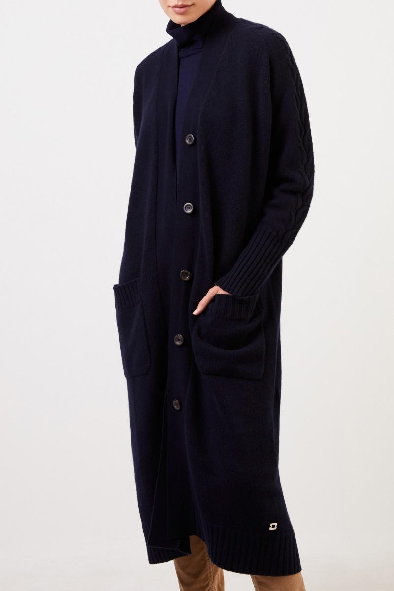 Colombo Langer Cashmere-Cardigan mit Strickdetails Marineblau