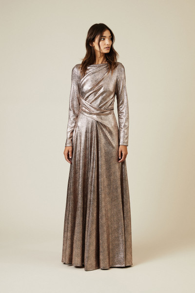 Abendkleid 'Ross7' Nude Metallic