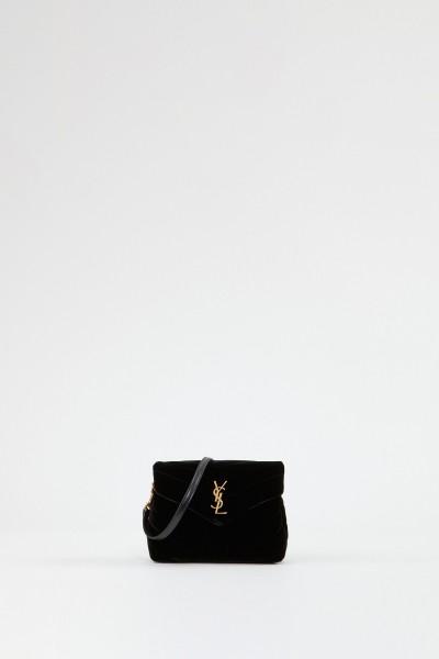 Saint Laurent Shoulder bag 'Pouche Monogramm'  velvet black