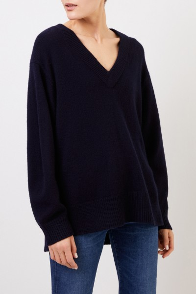 Vince Long Cashmere Sweater with V-Neck Navy Blue