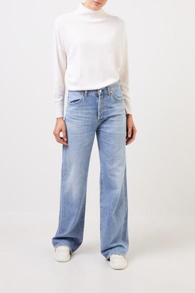 Allude Woll-Cashmere-Pullover mit Turtleneck Weiß