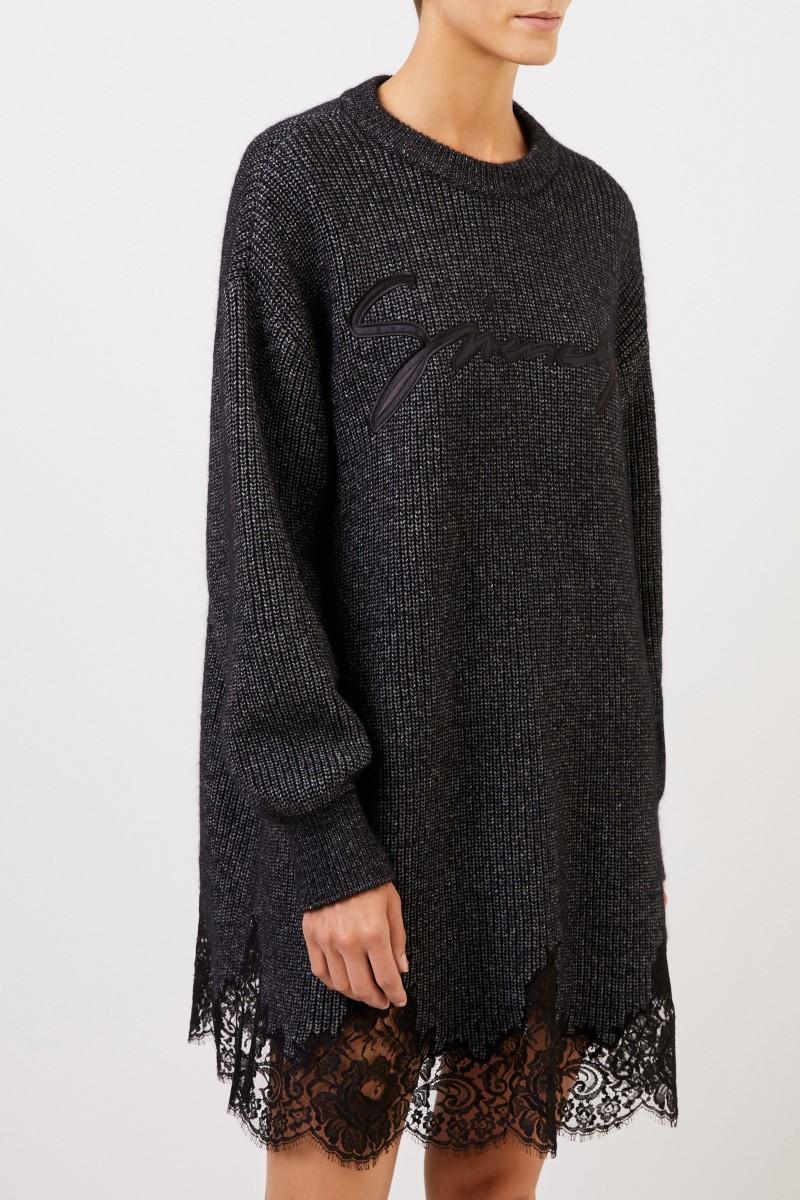 Givenchy Strickkleid mit Spitzendetails Anthrazit