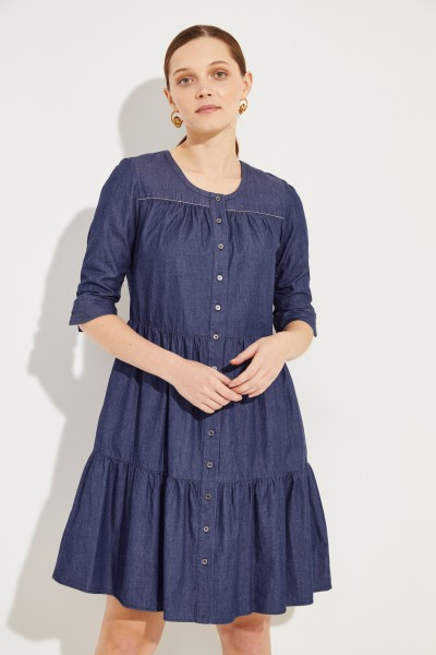 Jeanskleid mit verkürzten Ärmel Blau
