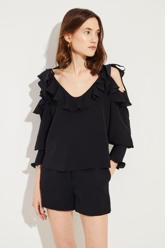 Seiden-Bluse mit Rüschen Schwarz