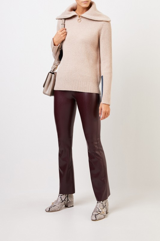 Tory Burch Woll-Cashmere-Pullover mit breitem Kragen Beige