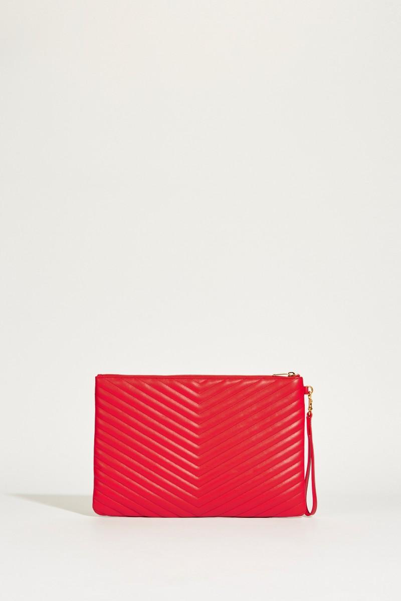 Gesteppte Leder-Clutch L mit Logo Rot