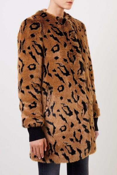 Steffen Schraut Faux fur coat with animal print Brown/Black