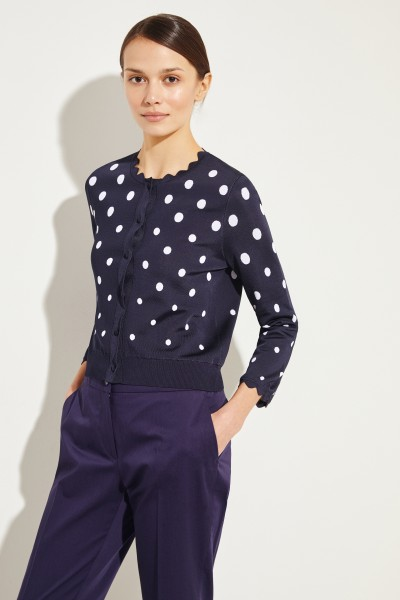 Short cardigan with dots navy Blue/White