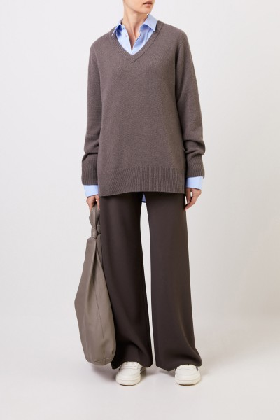 Wool cashmere pullover with v-neck 'Elaine' Grey