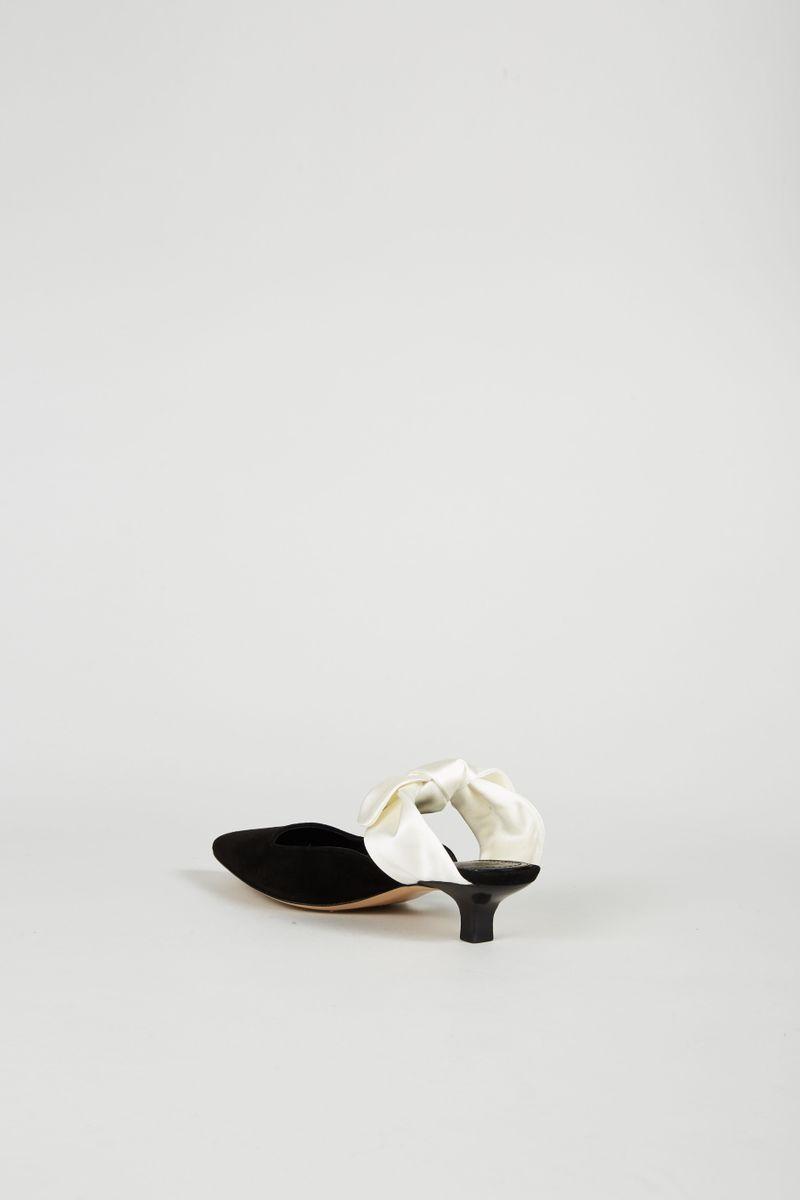 Mule 'Coco' aus Veloursleder Schwarz/Ivory