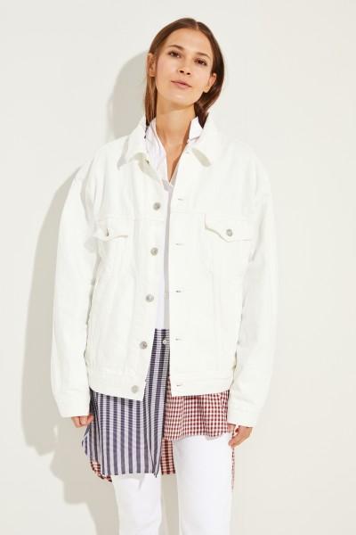 Oversize Jeansjacke mit Logo-Schriftzug Weiß