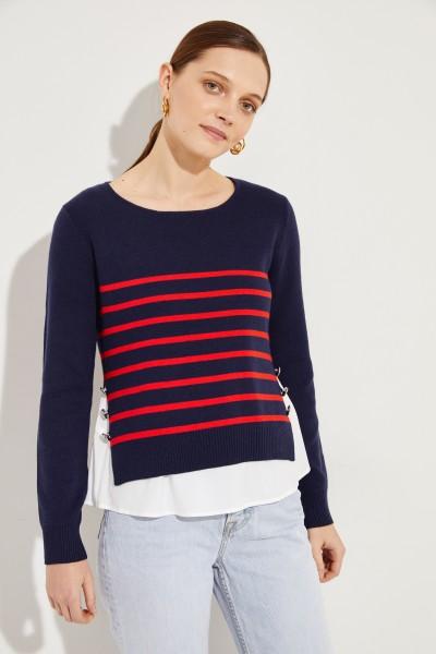 Gestreifter Pullover 2-teilig Blau/Rot