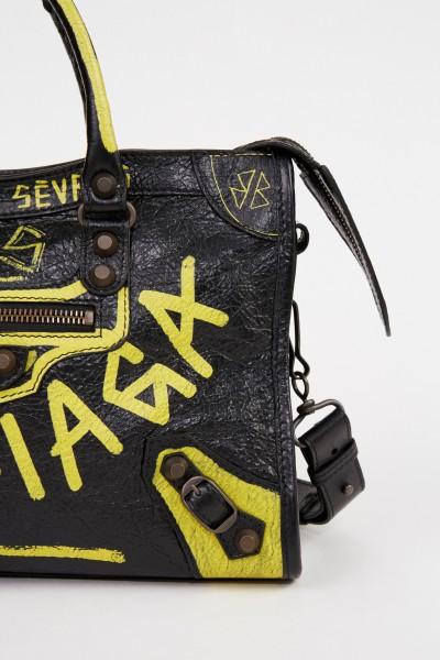 Balenciaga Tasche 'City Bag' mit Graffitti-Details Schwarz/Gelb
