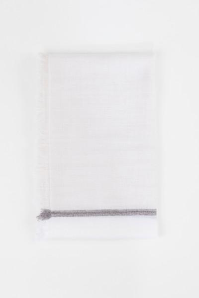 Brunello Cucinelli Cashmere-Seiden-Tuch mit Perlenverzierung Weiß
