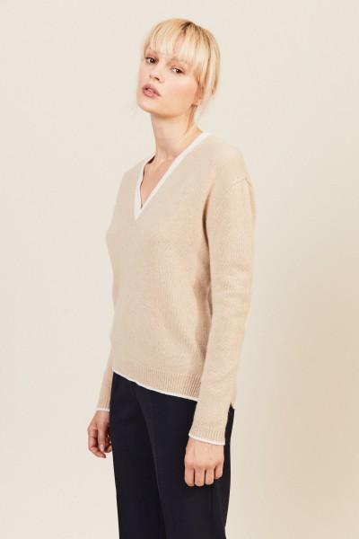 V-Neck Cashmere-Pullover Beige