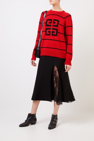Striped wool pullover with logo detail Red/Black