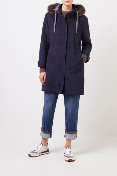 Brunello Cucinelli Wool cashmere parka with fur collar Navy Blue