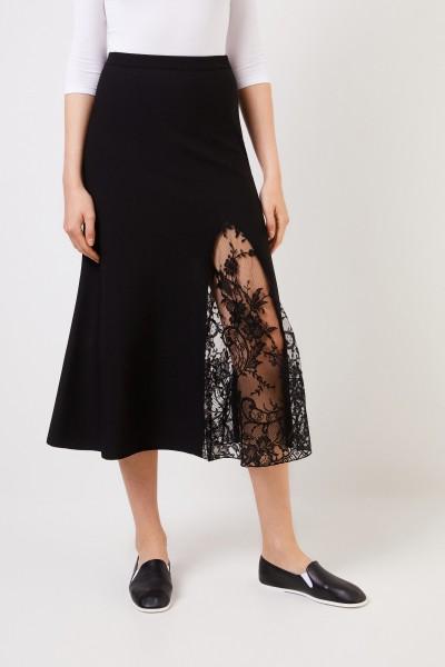 Givenchy Midirock mit Lace-Einsatz Schwarz