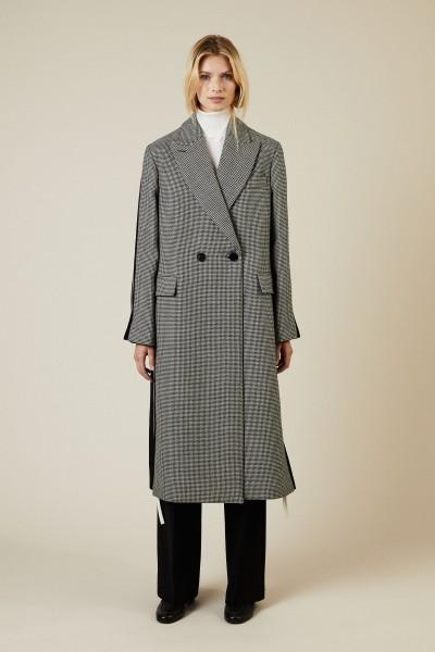 Woll-Mantel mit Hahnentritt Blau/Weiß