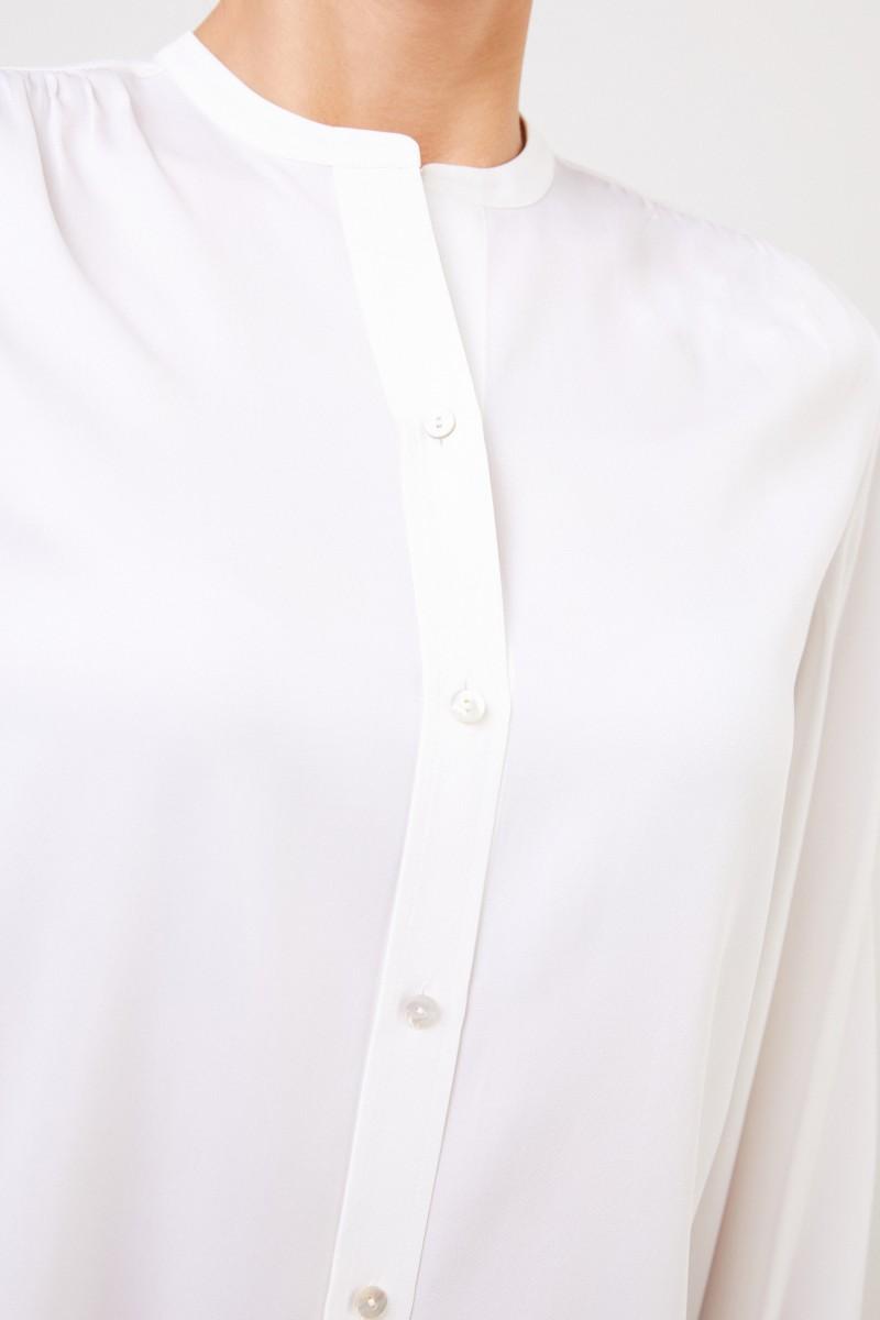 Seidenbluse mit Round-Neck Weiß