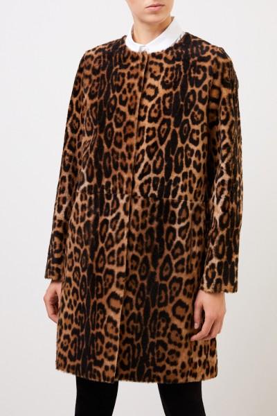 Yves Salomon Lambskin Coat with Animalprint Brown/Leo