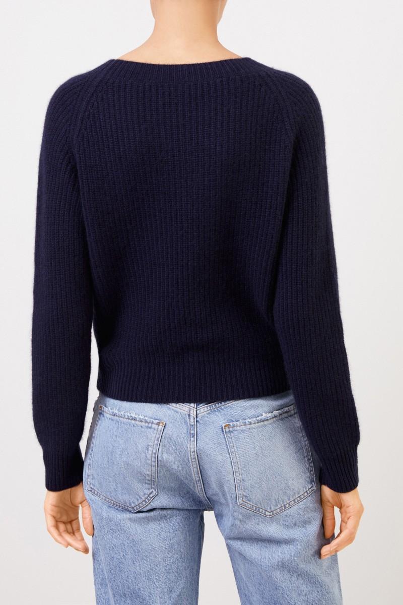 Uzwei Rippstrick-Cashmere-Pullover Marineblau