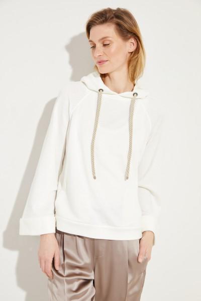 Leinen-Baumwoll-Hoodie mit Kapuze und Perlendetails Weiß