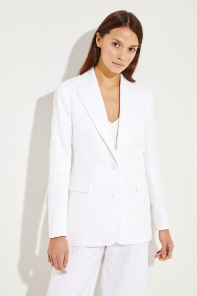 Cotton-Silk-Blazer 'George' with stripes White
