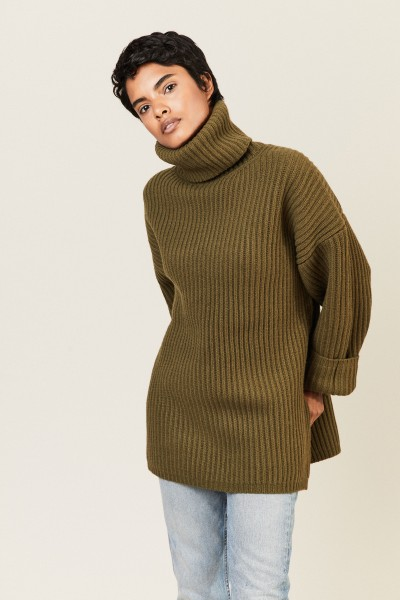 Oversize Woll-Rollkragen Khaki
