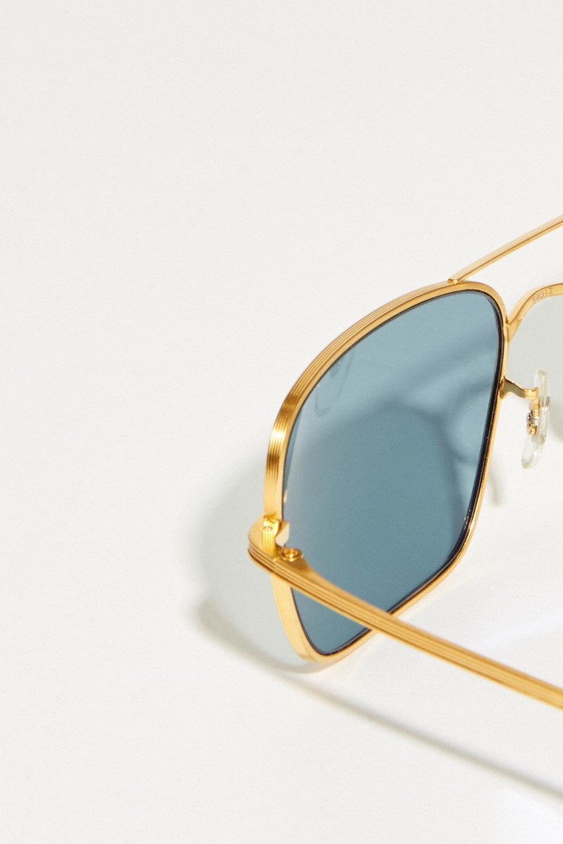 Oliver Peoples Sonnenbrille x The Row 'Victory L.A.' Gold/Blau