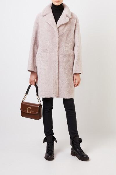 Reversible lambskin coat 'Mila' Beige