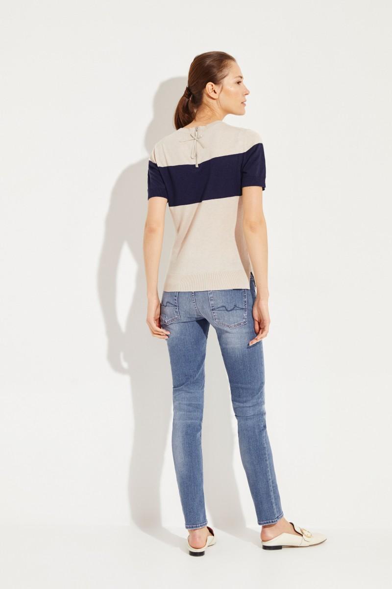 Stricktop mit Zipper-Detail Beige/Marineblau