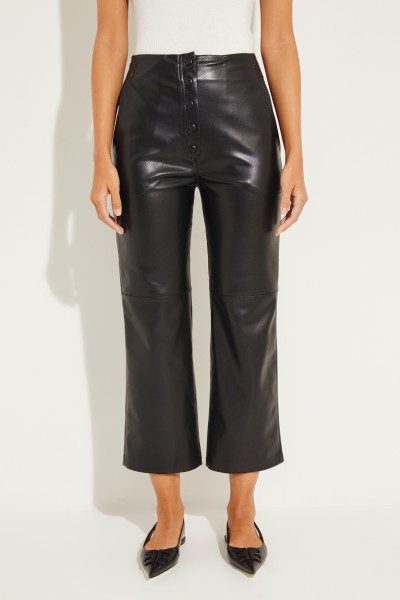 Leather trousers 'Sora' with press studs Black
