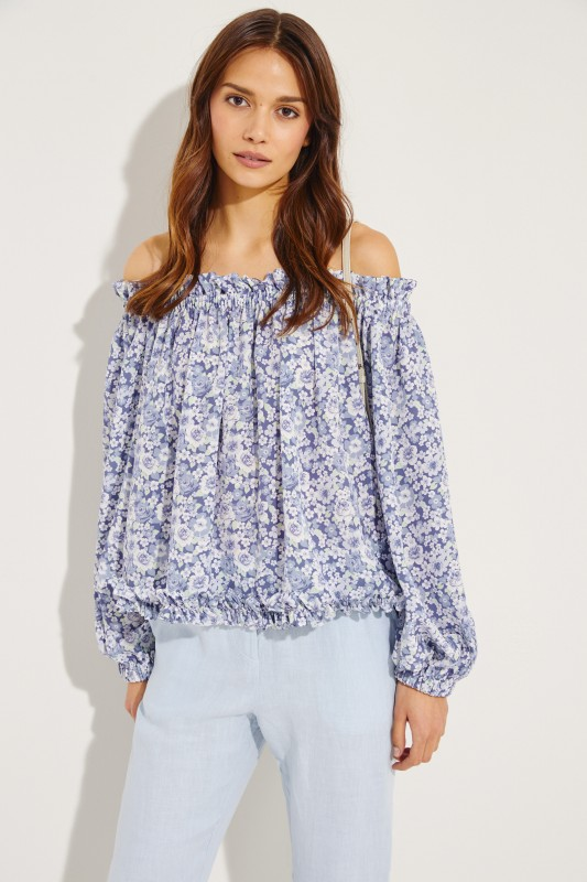 Silk top with floral print Blue/Multi