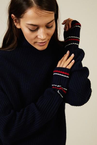 Woll-Cashmere-Pullover Blau/Weiß/Rot