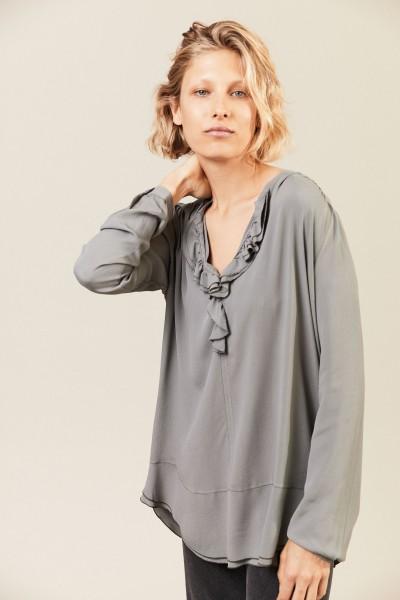 Leichte Bluse 'Pearl' mit Volant-Details Grau