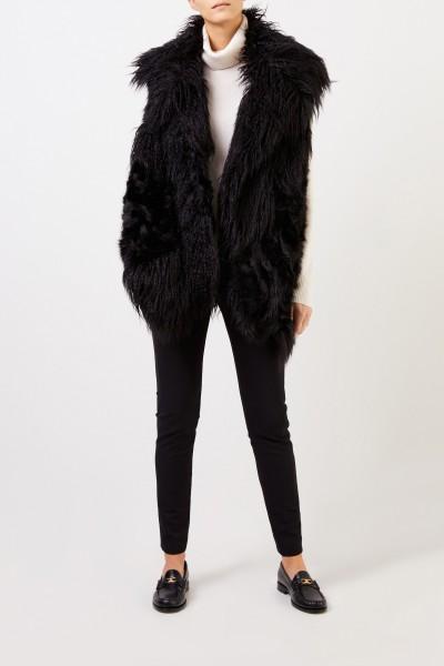 Stella McCartney Longhair Faux For Vest Black