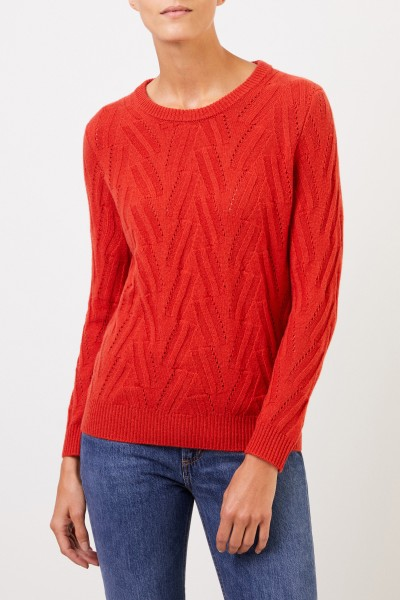 Uzwei Cashmere sweater with knit pattern Orange