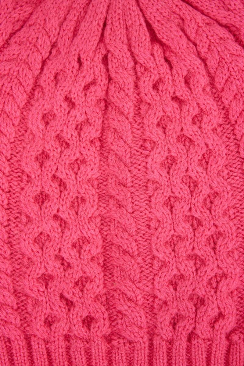 UZWEI Cashmere-Mütze mit Zopfmuster Pink