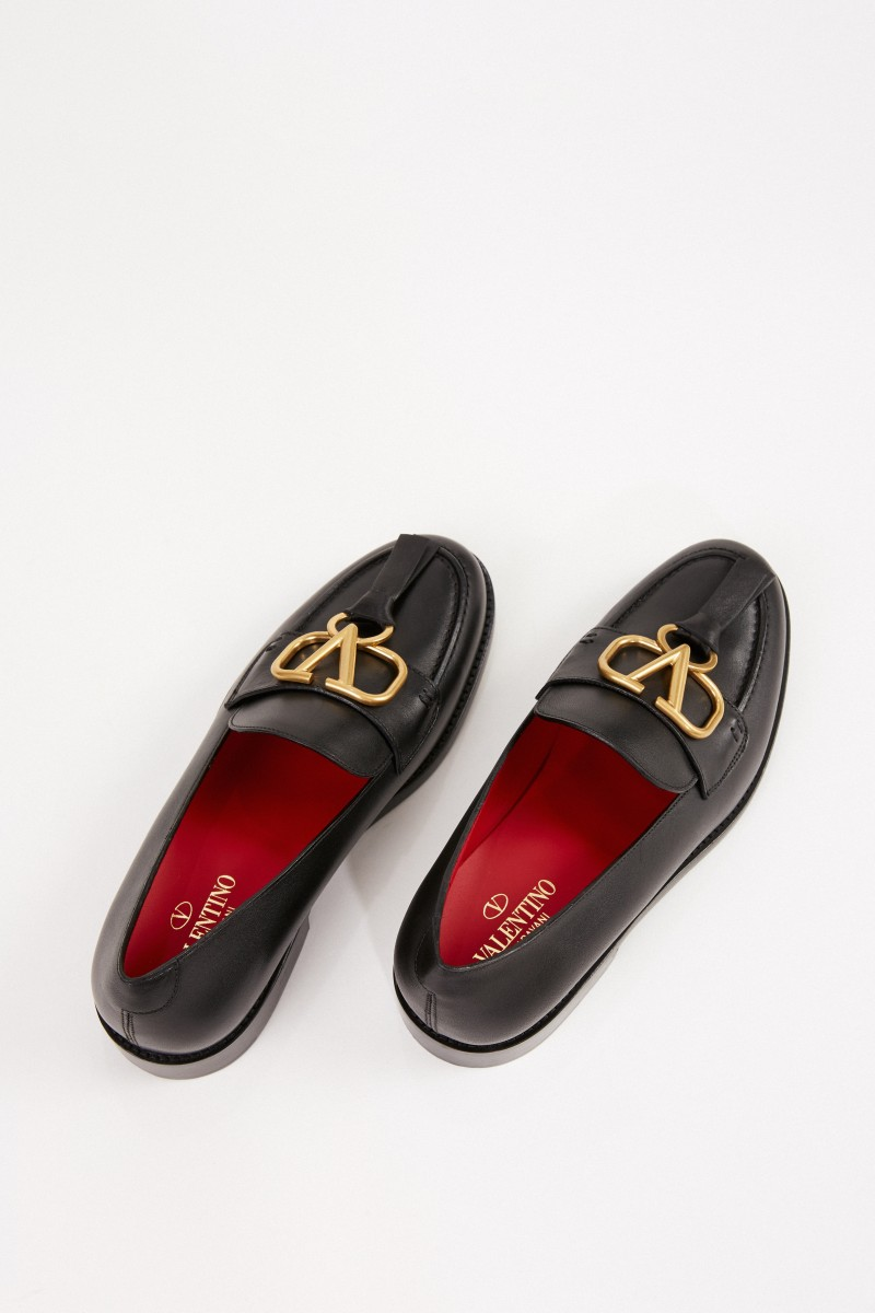 Valentino Leder-Loafer mit V-Logo Schwarz